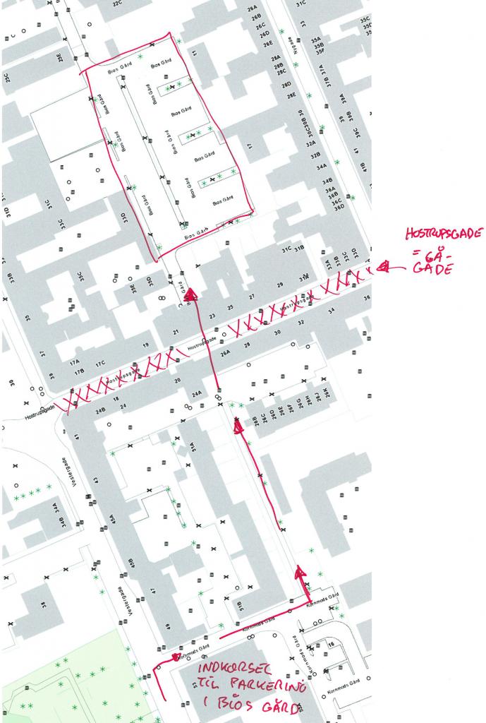 Indkørsel - over eller under jorden - kunne let skabes fra Vestergade, så Hostrupsvej blev gågade og forbandt Vestergade og Nygade