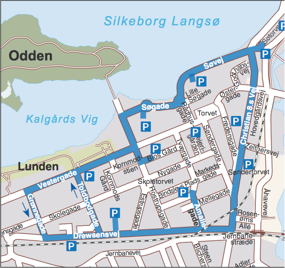 Ved at lade vejen markeret med blåt være den smarte P-søgering, kan trafikken på Skoletorvet og Hostrupsgade begrænses til beboer- og varekørsel